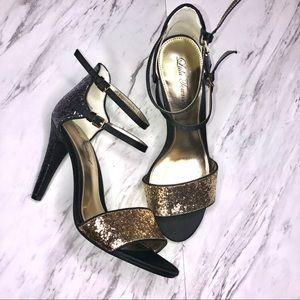 Lulu Townsend Gold Pewter Gray Glitter Stilettos